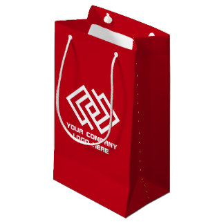 Your Company Party Logo Gift Bag Small Red