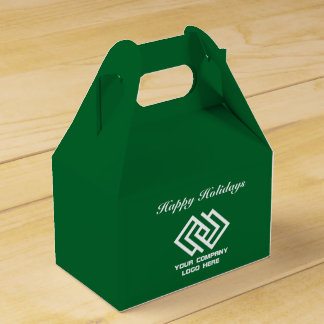 Your Company Party Logo Holidays Favor Box Grn G