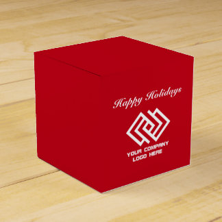 Your Company Party Logo Holidays Favor Box Red