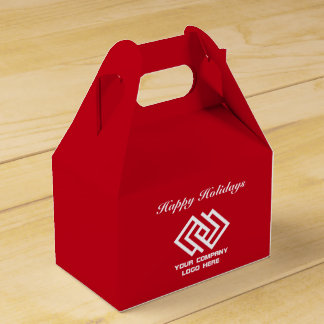Your Company Party Logo Holidays Favor Box Red G
