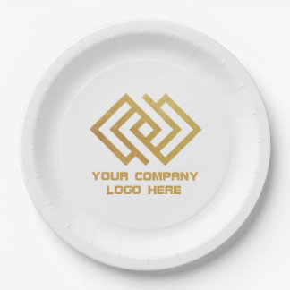 "Your Company Party Logo Paper 9"" Plates White"