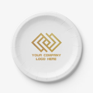 Your Company Party Logo Paper Plates White