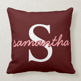 Your Cursive Monogram Burgundy Red and Pink Pillow