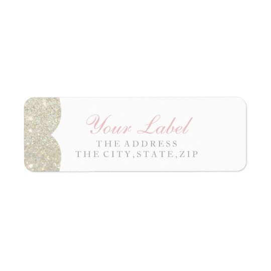 Your Custom Label - Glittered Crest Fab White G2 Return Address Label