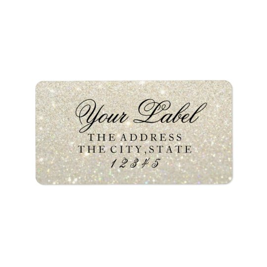 Your Custom Label - White Gold Glit Fab Address Label