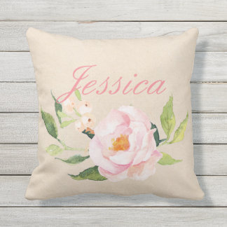 Your Custom Name| Pink Floral Outdoor Cushion