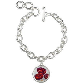 Your Custom Round Luner Charm Bracelet, red stone.