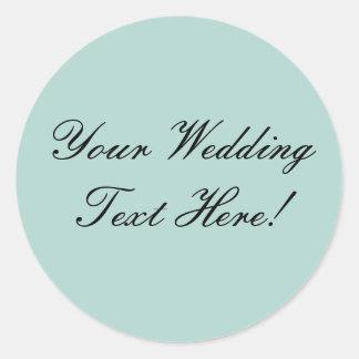 Your Design Here! Mint Green Wedding Seal Round Sticker