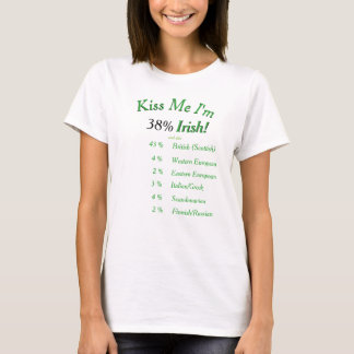 Your DNA Tested Kiss Me I'm Irish! on light shirts