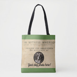 Your Dog Photo n Paws 1860 Legal Document antique Tote Bag