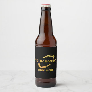 Your Event Logo Black Beer Bottle Label