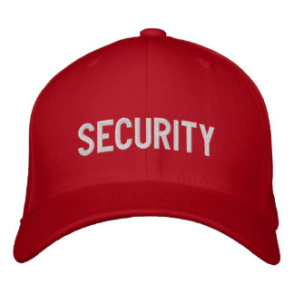 Your Event Security Hat Red Embroidered Cap
