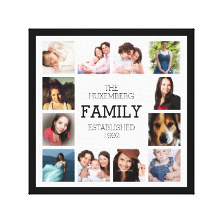 Your Favorite Family Photos with Custom Name Year Stretched Canvas Prints