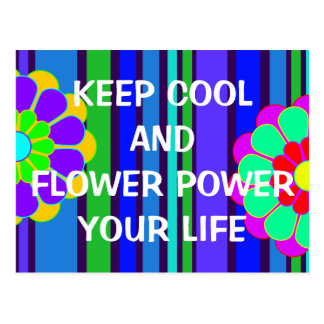 Your funny sayings: keep cool and flower power ... postcard