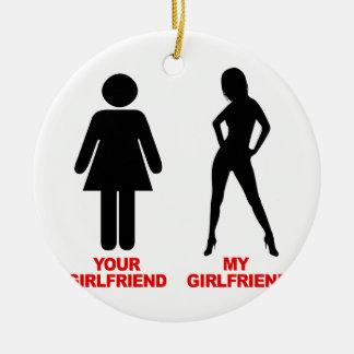 Your Girlfriend. My Girlfriend Round Ceramic Decoration