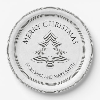 Your Greeting - Black/White Christmas Tree Font Paper Plate