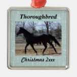 Your Horse Photo with Snowflakes Silver-Colored Square Decoration