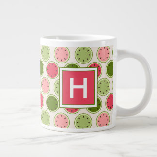 Your Initial | Cute Watermelon Pattern Monogram Large Coffee Mug