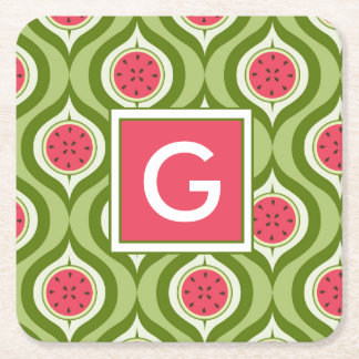 Your Initial | Cute Watermelon Pattern Monogram Square Paper Coaster
