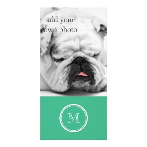Your Initial Mint Green High End Colored Photo Card Template