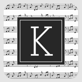 Your Initial | Musical Notes Square Sticker