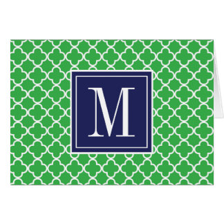 Your Initial | Navy Blue & Green Trefoil Card
