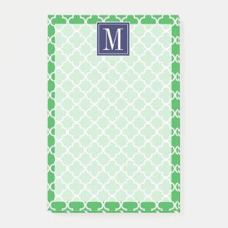 Your Initial | Navy Blue Green Trefoil Post-it Notes