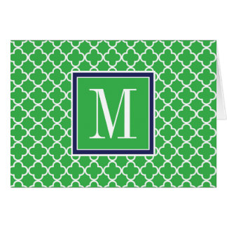 Your Initial | Navy Green Trefoil Card