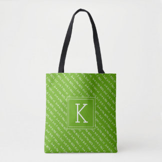 Your Initial | Neon Green Math Tote Bag