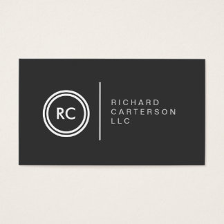 YOUR INITIALS LOGO on DK GRAY No. 2 Business Card