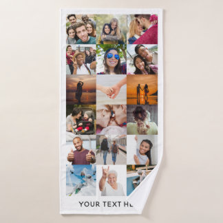 YOUR Instagram Photos Collage bath towel