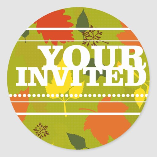 Your Invited Colored Leaves Sticker Seal