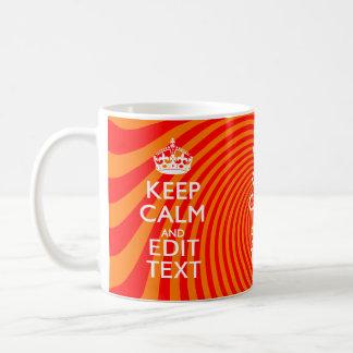 Your Keep Calm Saying on Vibrant Orange Swirl Coffee Mug