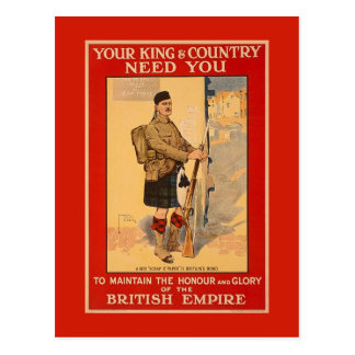 Your King and Country Need You, British Empire Postcard