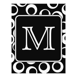 Your Letter. Black and White Monogram. Fun Pattern 21.5 Cm X 28 Cm Flyer