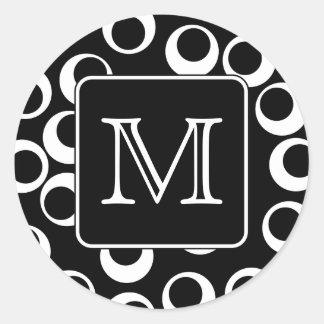 Your Letter. Black and White Monogram. Fun Pattern Round Sticker