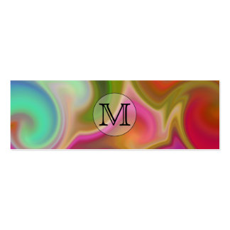 Your Letter, Colorful Swirls and Custom Monogram. Business Card Template