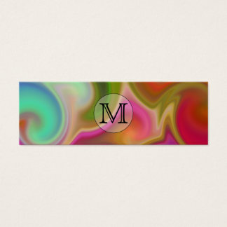 Your Letter, Colorful Swirls and Custom Monogram. Mini Business Card