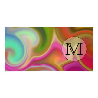 Your Letter, Colorful Swirls and Custom Monogram. Customized Photo Card