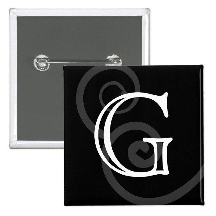 Your Letter. Custom Black / White Swirl Monogram. 15 Cm Square Badge