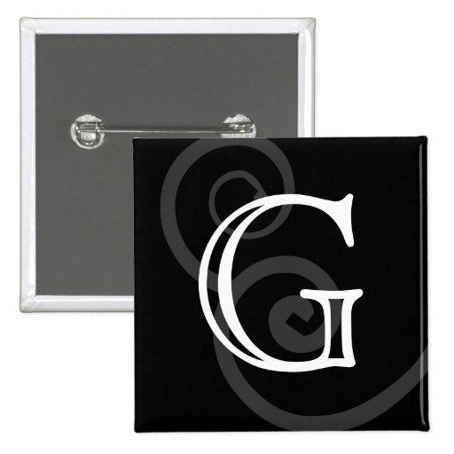 Your Letter. Custom Black / White Swirl Monogram. Pin