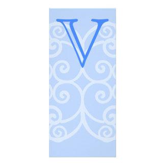 Your Letter. Custom Blue Swirl Monogram. Full Color Rack Card