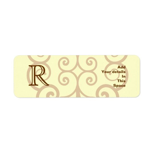 Your Letter. Custom Brown Monogram. Old Fashioned. Return Address Label