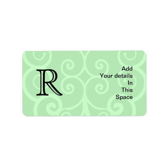 Your Letter. Custom Green Swirl Monogram. Address Label