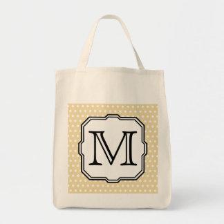 Your Letter. Custom Monogram. Beige Polka Dot. Grocery Tote Bag