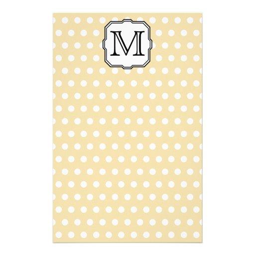 Your Letter. Custom Monogram. Beige Polka Dot. Stationery