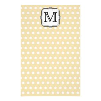 Your Letter. Custom Monogram. Beige Polka Dot. Stationery Design