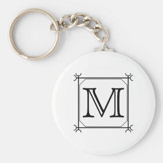 Your Letter. Custom Monogram. Black and White Basic Round Button Key Ring