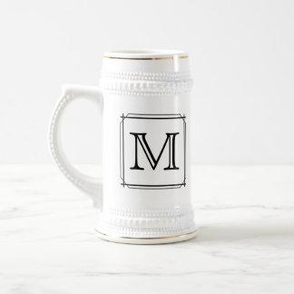 Your Letter. Custom Monogram. Black and White Beer Steins