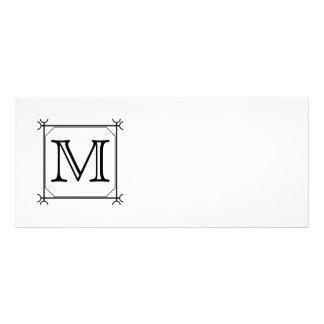 Your Letter. Custom Monogram. Black and White Rack Card Template